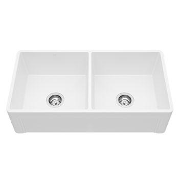 """Vigo Casement Front Matte Stone Double Bowl Farmhouse Kitchen Sink, 36"""""""