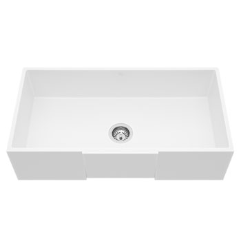 Vigo Square Front Matte Stone Farmhouse Kitchen Sink, 36""