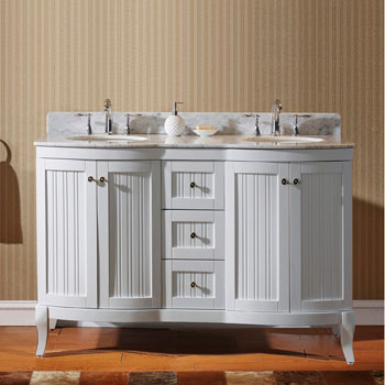 White w/ Round Sinks - No Mirror