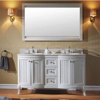White w/ Round Sinks Vanity Set
