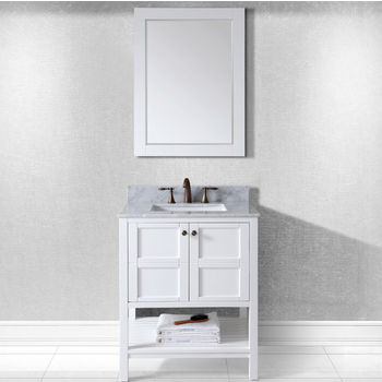 Virtu Usa Winterfell 30 Single Bathroom Vanity Set In White Italian Carrara Marble Top With Square Sink