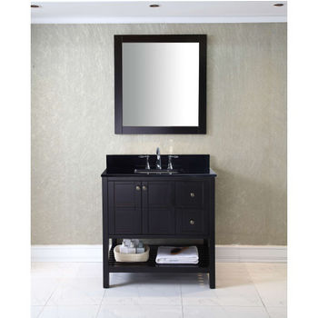 Bathroom Vanities 36 Winterfell Single Sink Bathroom Vanity Set In Multiple Finishes With Italian Carrara Marble Or Black Galaxy Granite Top By Virtu Usa Kitchensource Com