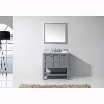 Virtu USA 36'' Winterfell Single Sink Bathroom Vanity Set in Grey