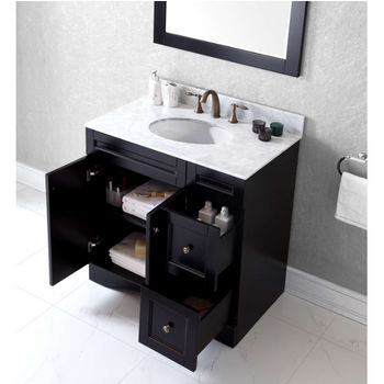 Bathroom Vanities 36 Elise Single Square Or Round Sink Bathroom Vanity Set In Multiple Finishes With Italian Carrara White Marble Or Black Galaxy Granite Top Options By Virtu Usa Kitchensource Com