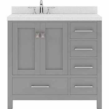 Cashmere Grey, Dazzle White Quartz, Round Sink - No Mirror