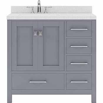 Grey, Dazzle White Quartz, Round Sink - No Mirror