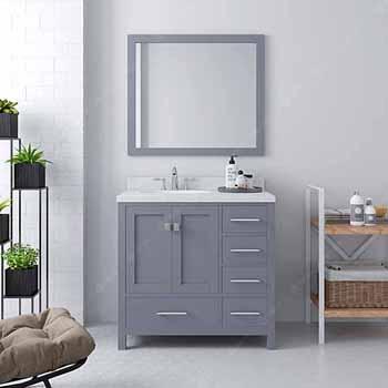 Grey, Dazzle White Quartz, Round Sink