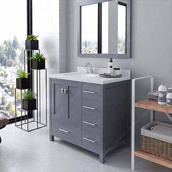 Grey, Dazzle White Quartz, Round Sink Angular View