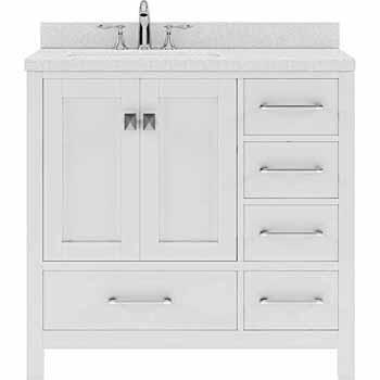 White, Dazzle White Quartz, Round Sink - No Mirror