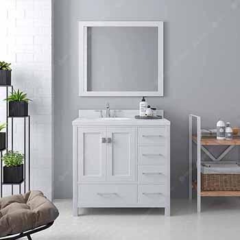 White, Dazzle White Quartz, Round Sink