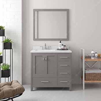 Cashmere Grey, Dazzle White Quartz, Square Sink