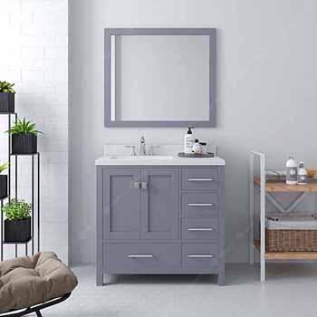 Grey, Dazzle White Quartz, Square Sink