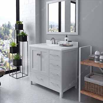 White, Dazzle White Quartz, Square Sink Angular View