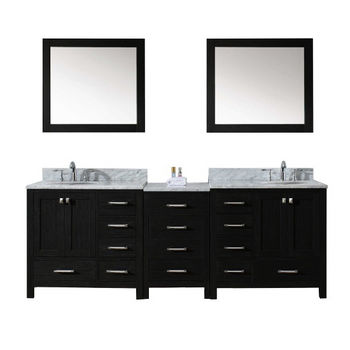 Virtu Usa Caroline Premium 90 Double Bathroom Vanity Set With 2 Main Cabinets Middle Cabinet Italian Carrara Marble Top 2 Mirrors Available In Zebra Grey Kitchensource Com