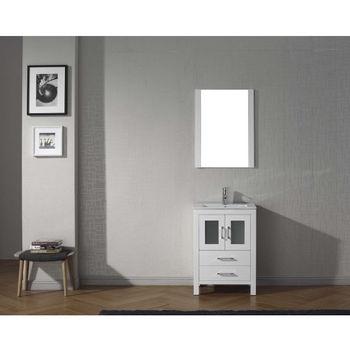 White w/ Ceramic Top Vanity Set