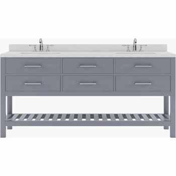 Grey, Dazzle White Quartz, Round Sinks - No Mirror