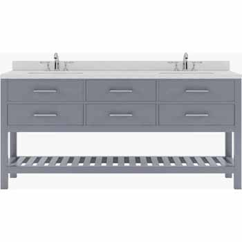 Grey, Dazzle White Quartz, Square Sinks - No Mirror