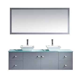 Bath Vanities Clarissa Espresso Wall Mounted Double Bath Vanity Set With Clear Glass Or White Stone Counter Tops By Virtu Usa Kitchensource Com