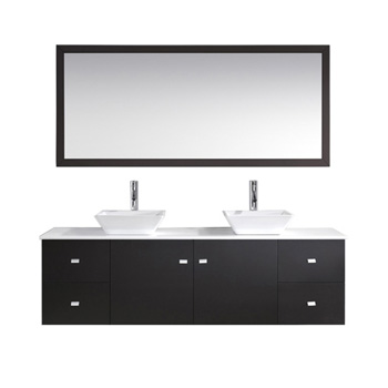 Bath Vanities Clarissa Espresso Wall Mounted Double Bath Vanity Set With Wall Mirror And Clear Glass Or White Stone Counter Tops By Virtu Usa Kitchensource Com