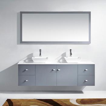 Grey w/ Stone Top Vanity Set