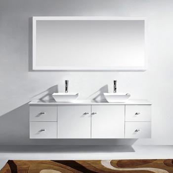 White w/ Stone Top Vanity Set