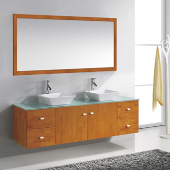 Honey Oak w/ Glass Top Vanity Set