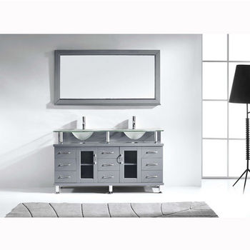 Grey w/ Frosted Glass Top Vanity Set