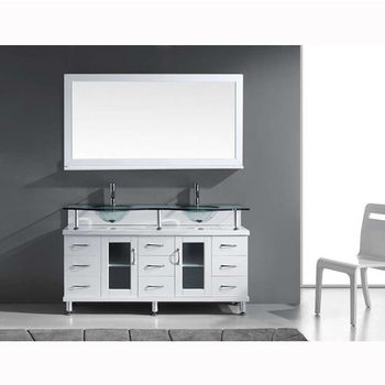 White w/ Glass Top Vanity Set