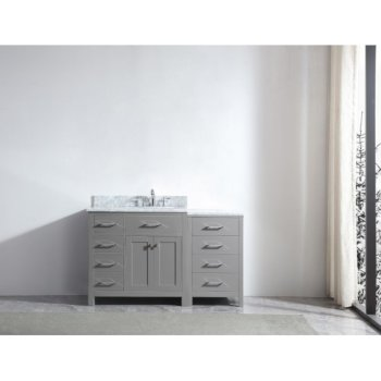 "Virtu USA Caroline Parkway 57"" Single Bath Vanity in Cashmere Grey w/ Italian Carrara White Marble Countertop and Round Sink, Base Cabinet: 56"" W x 22-1/16"" D x 34-11/16"" H"