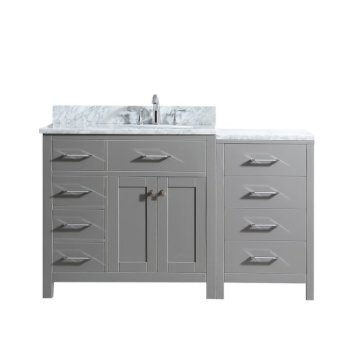 "57"" Vanity Cashmere Grey w/ Top, Round Sink Product View"