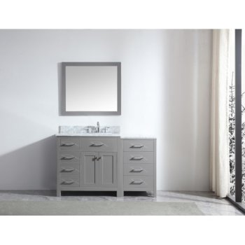 "Virtu USA Caroline Parkway 57"" Single Bath Vanity Set in Cashmere Grey w/ Italian Carrara White Marble Countertop, Round Sink and Mirror, Base Cabinet: 56"" W x 22-1/16"" D x 34-11/16"" H"