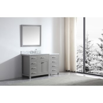 "Virtu USA Caroline Parkway 57"" Single Bath Vanity Set in Cashmere Grey w/ Italian Carrara White Marble Countertop, Round Sink, Brushed Nickel Faucet and Mirror, Base Cabinet: 56"" W x 22-1/16"" D x 34-11/16"" H"