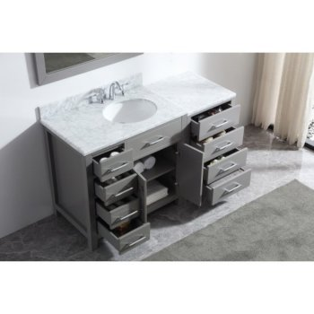 "57"" Vanity Set Cashmere Grey w/ Top, Round Sink, Faucet, Mirror View"