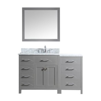 "57"" Vanity Set Cashmere Grey w/ Top, Round Sink, Faucet, Mirror Product View"