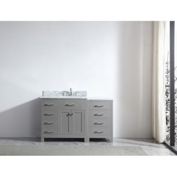 "Virtu USA Caroline Parkway 57"" Single Bath Vanity in Cashmere Grey w/ Italian Carrara White Marble Countertop and Square Sink, Base Cabinet: 56"" W x 22-1/16"" D x 34-11/16"" H"