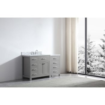 "57"" Vanity Cashmere Grey w/ Top, Square Sink View"