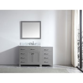 "Virtu USA Caroline Parkway 57"" Single Bath Vanity Set in Cashmere Grey w/ Italian Carrara White Marble Countertop, Square Sink and Mirror, Base Cabinet: 56"" W x 22-1/16"" D x 34-11/16"" H"