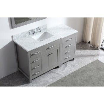 "Virtu USA Caroline Parkway 57"" Single Bath Vanity Set in Cashmere Grey w/ Italian Carrara White Marble Countertop, Square Sink, Polished Chrome Faucet and Mirror, Base Cabinet: 56"" W x 22-1/16"" D x 34-11/16"" H"