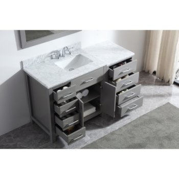 "57"" Vanity Set Cashmere Grey w/ Top, Square Sink, Faucet, Mirror View"