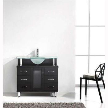 Espresso w/ Frosted Glass Top Vanity Set