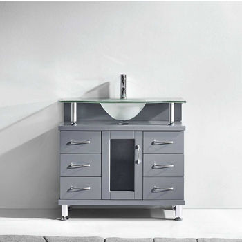 "Virtu USA Vincente Collection 36"" Freestanding Single Bathroom Vanity Set in Grey (Set Includes: Main Cabinet and Frosted Glass Countertop w/ Integrated Round Sink)"