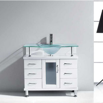 "Virtu USA Vincente Collection 36"" Freestanding Single Bathroom Vanity Set in White (Set Includes: Main Cabinet and Frosted Glass Countertop w/ Integrated Round Sink)"
