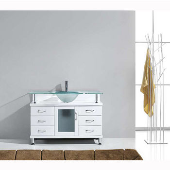 White w/ Frosted Glass Top Vanity Set