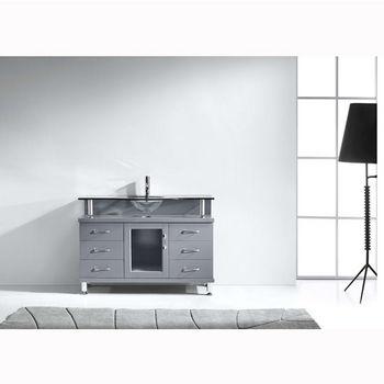Grey w/ Glass Top Vanity Set