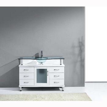 White w/ Glass Top Vanity Set