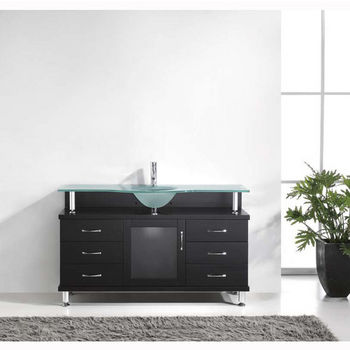 Espresso w/ Frosted Glass Top Vanity Cabinet