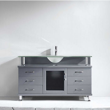 "Virtu USA Vincente Collection 55"" Freestanding Single Bathroom Vanity Set in Grey (Set Includes: Main Cabinet and Frosted Glass Countertop w/ Integrated Round Sink)"