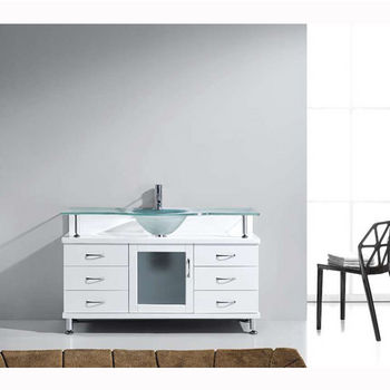 White w/ Frosted Glass Top Vanity Cabinet