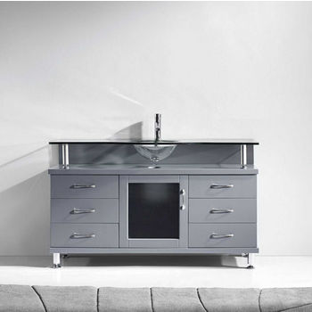 "Virtu USA Vincente Collection 55"" Freestanding Single Bathroom Vanity Set in Grey (Set Includes: Main Cabinet and Tempered Glass Countertop w/ Integrated Round Sink)"