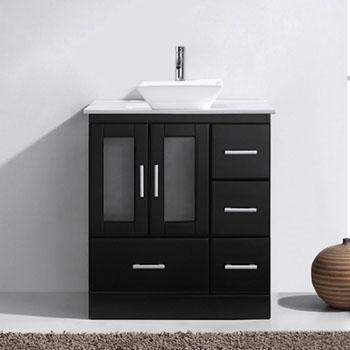 Bathroom Vanities 30 Zola Single Bathroom Vanity Set White Engineered Stone Top With Square Vessel Sink By Virtu Usa Kitchensource Com